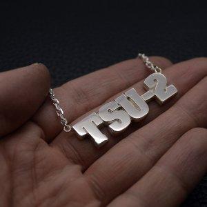 ■【TSU-2】オーダーメイドメンズネームプレートネックレス【Lサイズ】-銀無垢仕上げ-[ブラックスミス書体]製作例