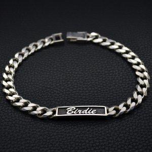 ■高級迷子札 シルバー製IDタグドッグネックレス 25~35cm