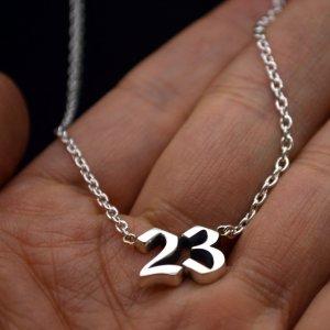 ■ナンバーネックレス メンズ 二桁【23】いぶし銀仕上げ