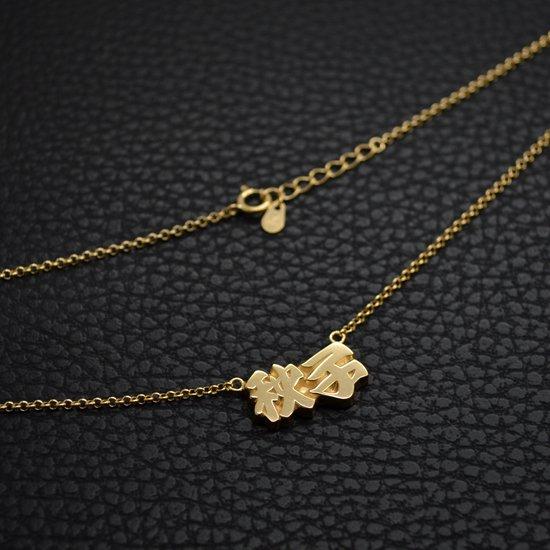 ■銀製ネームネックレス-ゴールドメッキ-[漢字3書体] ※チェーン付