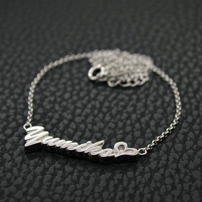 ■銀製ネームネックレス-ロジウムメッキ仕上げ-[ハワイ書体] ※チェーン付