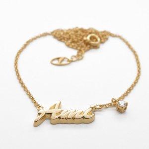 ■銀製ネームネックレス-イエローゴールドメッキ-[ハワイ書体] ※チェーン付