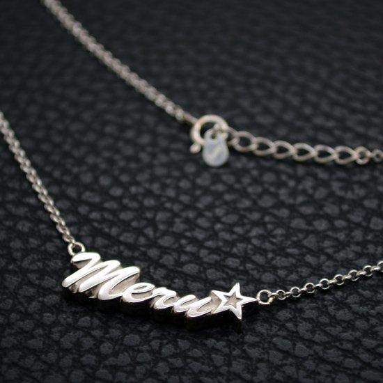 ■シルバー製ネームネックレス-銀無垢仕上げ-[ハワイ書体] ※45(43)cmチェーン付