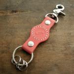 ▼46U | ヌメ革製キーホルダー 業界初の経年変化を愉しむナチュラルカラー革(カラー:ピンク)