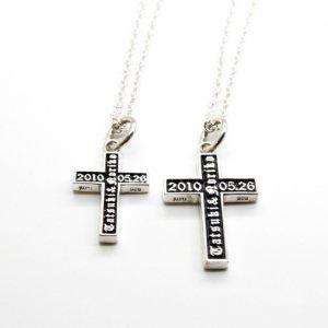 ■シルバー製クロス(十字架)オーダーメイドペアネックレス-墨入れ仕上げ- ※チェーン付