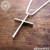▼シルバー製クロス(十字架)ネックレス【L】-銀無垢仕上げ-[wildorange] ※チェーン付