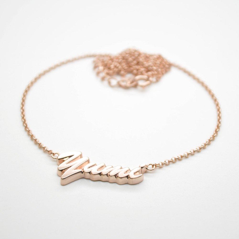 ■銀製ネームネックレス-ピンクゴールドメッキ-[ハワイ書体] ※チェーン付