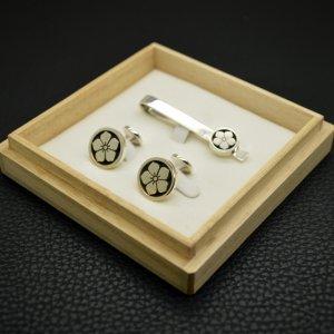 ■オーダーメイド【クリップ式】家紋ネクタイピン・カフスボタンセット(銀製)