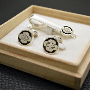 ■オーダーメイド【わに口式】家紋ネクタイピン・カフスボタンセット(銀製)