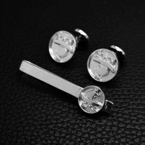 ■シルバー製 持込ロゴ オリジナルネクタイピンカフスボタンセット