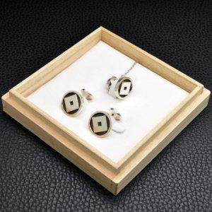 ■銀製オーダーメイド家紋ネクタイピンカフスボタン3点セット【タイタック式】 墨いれ仕上げ