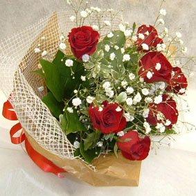 赤バラミニブーケ(赤バラ・かすみ草)