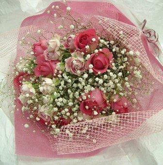 ピンクバラブーケ花束