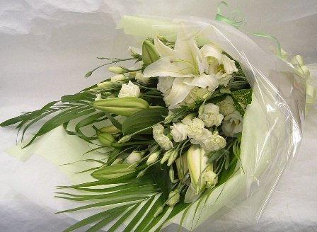 カサブランカ&白仕上げ花束(お供え用)