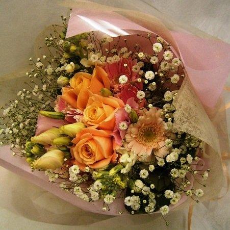 オレンジバラ・ガーベラブーケ花束