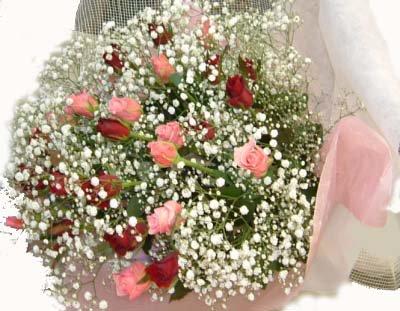 ピンクバラ・赤バラ花束