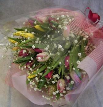 チューリップ・カスミ草花束