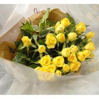 黄色バラ花束