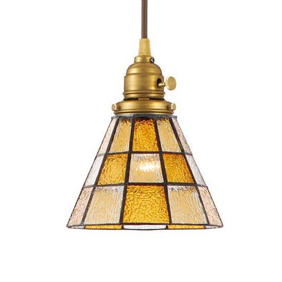 AW-0371 Stained glass pendant checker<br>ステンドグラスペンダント チェッカー<br>ペンダントライト<br>ステンドガラス 1灯用