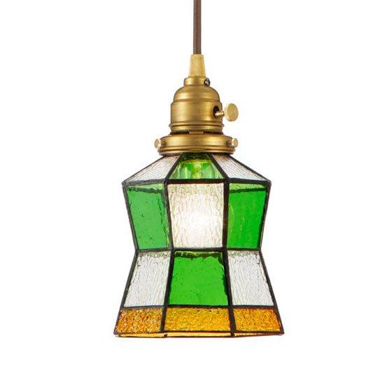 AW-0372 Stained glass pendant Helm<br>ステンドグラスペンダント ヘルム<br>ペンダントライト<br>ステンドガラス 1灯用