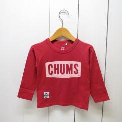 チャムス/CHUMS/Kid's Logo L/S T-Shirt Trans Dry/Warm Red