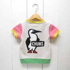 チャムス/CHUMS/Kid's S/S Booby Logo Crew Top/Crazy Red