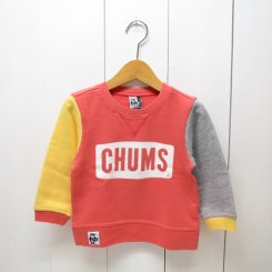 チャムス/CHUMS/Kid's Boat Logo Crew Top/Crazy Red