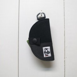 チャムス/CHUMS/Half-moon Key Case Sweat Nylon/Black×Charcoal