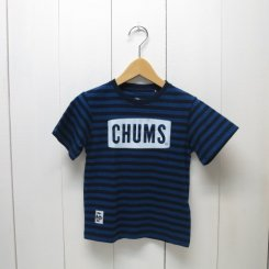 チャムス/CHUMS/Kid's Boat Logo T-Shirt Indigo/Indigo Border