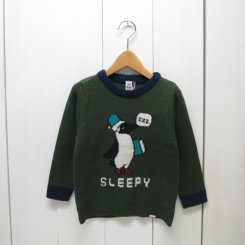 チャムス/CHUMS/Kid's  Cyclone Knit Crew Top/Forest Green