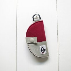 チャムス/CHUMS/Half-moon Key Case Sweat Nylon/Red × Gray