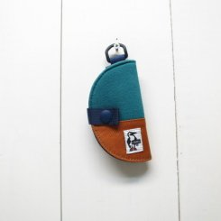 チャムス/CHUMS/Half-moon Key Case Sweat Nylon/Teal × Orange