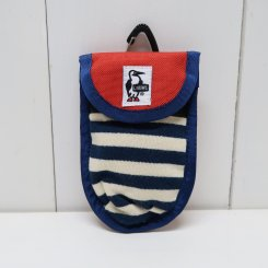 チャムス/CHUMS/Anti Relay Attack Key Case Sweat Nylon/Navy Border×Tomato