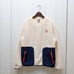 チャムス/CHUMS/Elmo Fleece Crew Top/Ivory × Navy