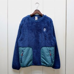 チャムス/CHUMS/Elmo Fleece Crew Top/Navy × Teal