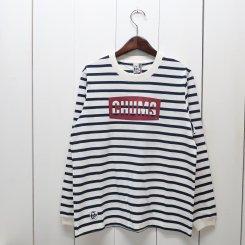 チャムス/CHUMS/CHUMS Logo L/S T-Shirt/White × Navy