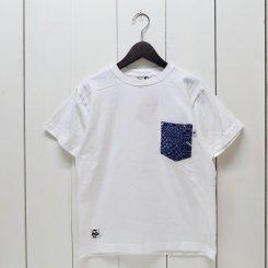 チャムス/CHUMS/東北別注/米織小紋 Pocket T-shirt 亀甲つなぎ/White