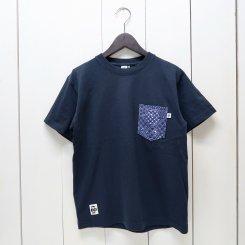 チャムス/CHUMS/東北別注/米織小紋 Pocket T-shirt 亀甲つなぎ/Navy