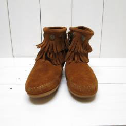 ミネトンカ/MINNT TONKA/DOUBLE FRINGE SIDE ZIP BOOT/Brown