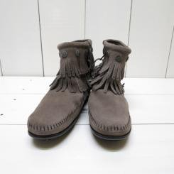 ミネトンカ/MINNT TONKA/DOUBLE FRINGE SIDE ZIP BOOT/Grey
