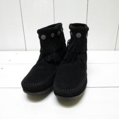 ミネトンカ/MINNT TONKA/DOUBLE FRINGE SIDE ZIP BOOT/Black
