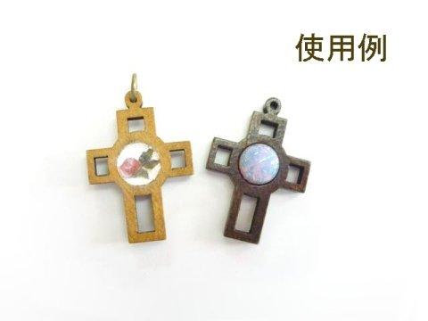 ウッド 中抜き 十字架 濃茶4