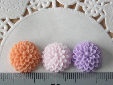 樹脂製お花カボション15mmPOPカラー2