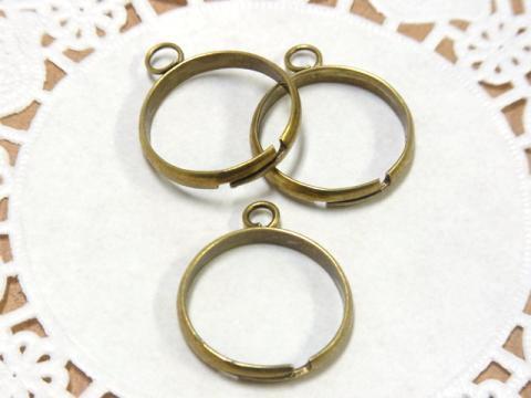 カン付き指輪18mmリングパーツ3個金古美(真鍮古美)1