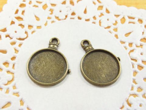 懐中時計風ミール皿約24×18mm金古美(真鍮古美)2個1