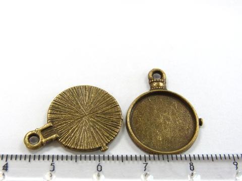 懐中時計風ミール皿約24×18mm金古美(真鍮古美)2個2