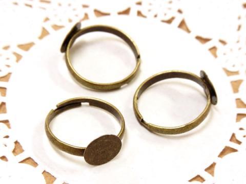 貼り付け台(10mm)付き指輪パーツ18mm3個金古美(真鍮古美)1