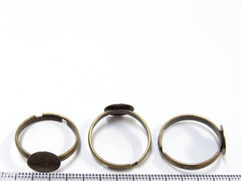 貼り付け台(10mm)付き指輪パーツ18mm3個金古美(真鍮古美)2