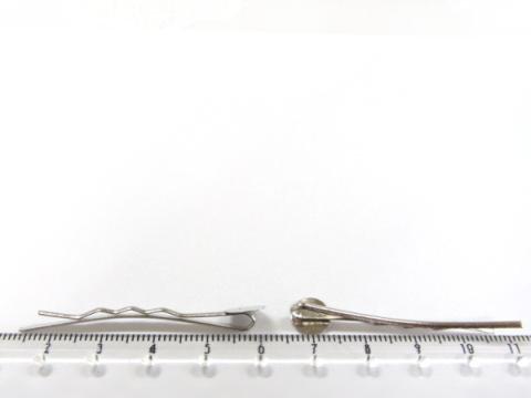 貼り付け用ヘアピン45mmニッケル(銀色)10個2