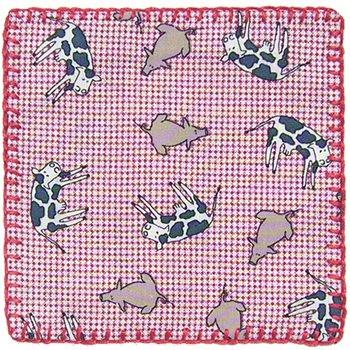 コースター USAコットン  牛と豚 赤